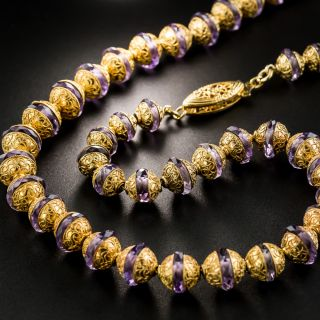 Etruscan Revival Amethyst Rondelle Necklace - 3