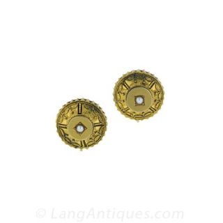 Etruscan Revival Earrings and Matching Pin Locket