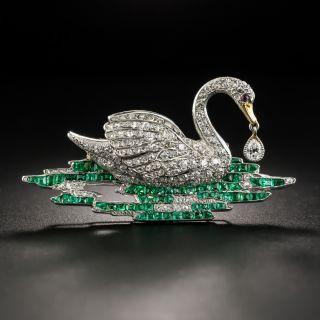 Exquisite Early Art Deco Diamond and Emerald Swan Brooch - 2
