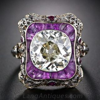Extraordinary 4.23 Carat Antique Diamond Ring
