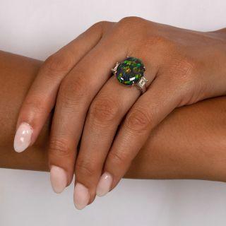 Extraordinary 8.35 Carat Black Opal and Diamond Ring