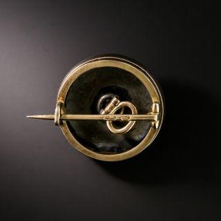 Faberge Guilloche Enamel and Diamond Button Pin