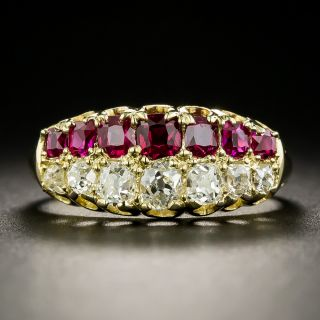 Antique Faberge Ruby and Diamond Band Ring - 4