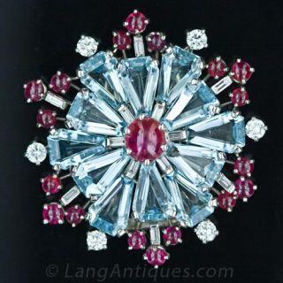 Fabulous Retro Aqua and Ruby Snowflake Pin Main View