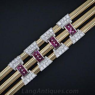 Fabulous Retro Ruby and Diamond  Slide Bracelet