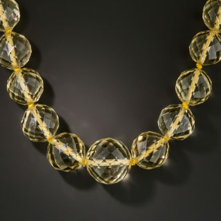 Faceted Citrine Bead Necklace with Jade Clasp