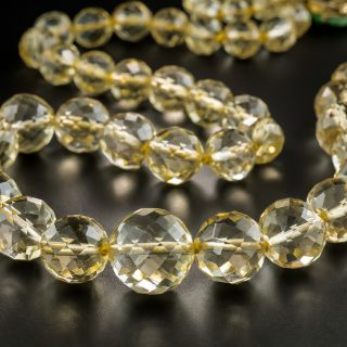 Faceted Citrine Bead Necklace with Jade Clasp - 4
