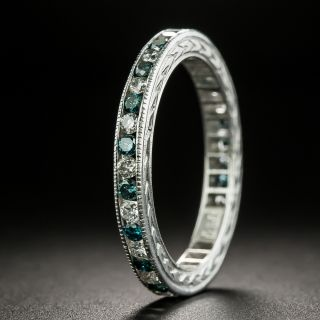 Fancy Blue (Treated) and White Diamond Eternity Band - Size 6 1/2 - 3