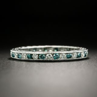 Fancy Blue (Treated) and White Diamond Eternity Band - Size 6 1/2