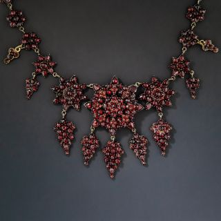 Bohemian Garnet Flower and Snowflake Necklace - 1