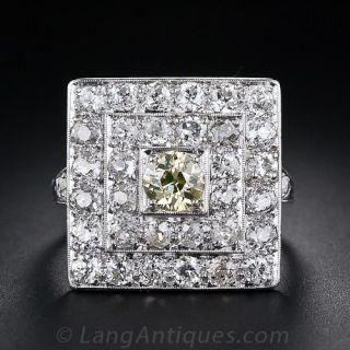 Fancy Color Diamond Art Deco Ring