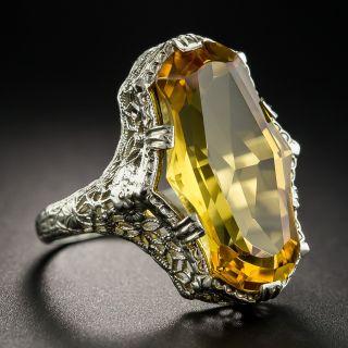 Fancy Cut Citrine Art Deco Filigree Ring