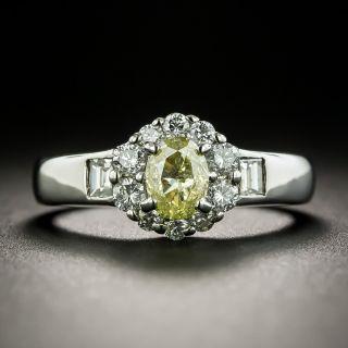 Fancy Intense Yellow .52 Carat Oval-Cut Diamond Halo Ring - GIA - 3