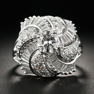 Fancy Platinum and Diamond Cocktail Ring - 1