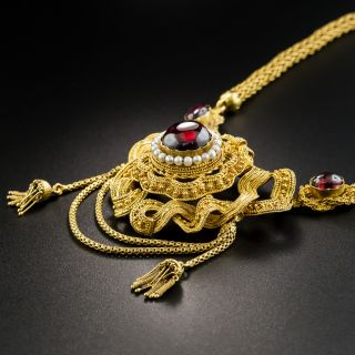 Fancy Victorian Garnet Necklace