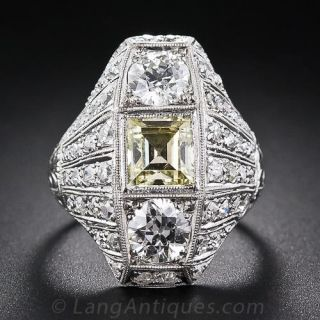 Fancy Yellow Square Step Cut Diamond Art Deco Platinum Dinner Ring  - 1