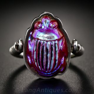 Favrile Tiffany Glass Scarab Ring