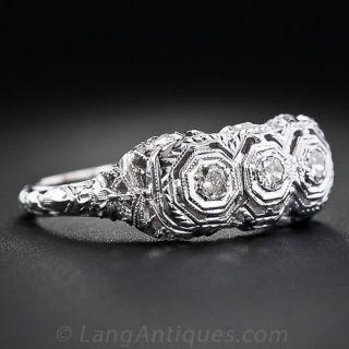 Filigree Three-Stone Diamond Ring