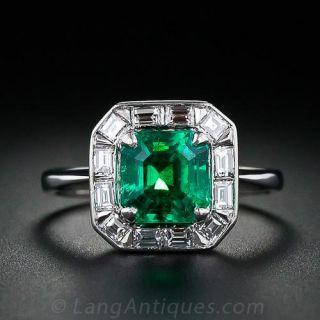 Fine 1.75 Carat Emerald and Diamond Ring in Platinum