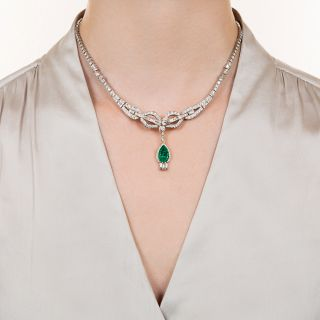 Fine 2.97 Carat Colombian Emerald and Diamond Necklace