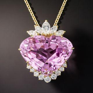 Fine 62.27 Carat Heart Shape Kunzite and Diamond Pendant - 1