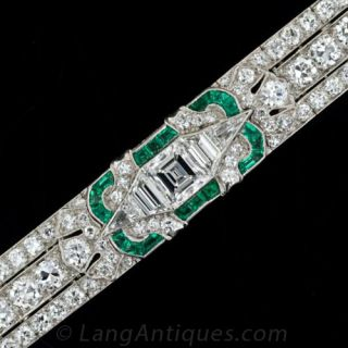 Fine Art Deco Diamond and Calibre Emerald Bracelet - 1