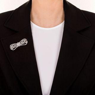 Fine Art Deco Diamond Onyx Bow Brooch