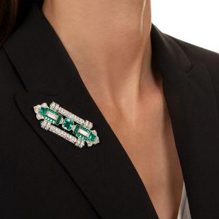 Fine Art Deco Emerald and Diamond Brooch - GIA F1