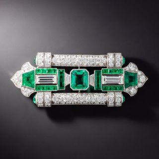 Fine Art Deco Emerald and Diamond Brooch - GIA F1 - 1
