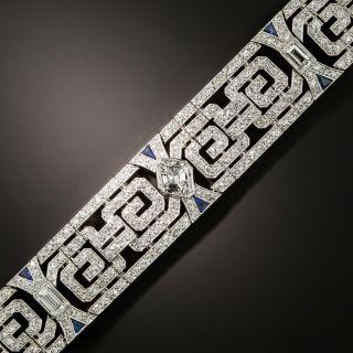 Fine Art Deco Lozenge-Cut Diamond And Sapphire Bracelet - 2