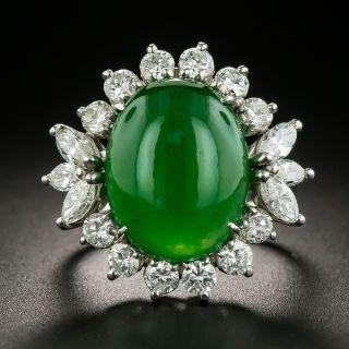 Estate Jade and Diamond Ring - GIA 7.95 Carat - 2