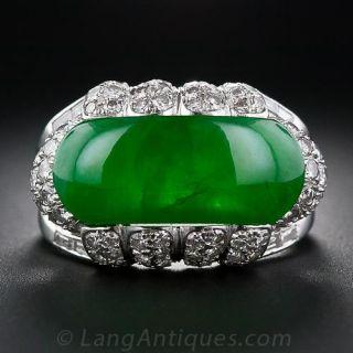 Fine Jadeite Saddle and Diamond Ring