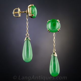 Fine Natural Jadeite Drop Earrings