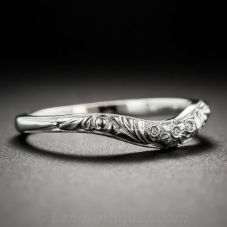 Floral Contoured Band with Diamonds