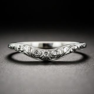 Floral Contoured Band with Diamonds - 1