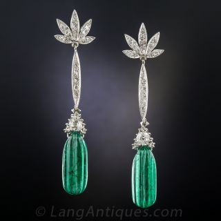 Fluted Emerald and Diamond Drop Earrings
