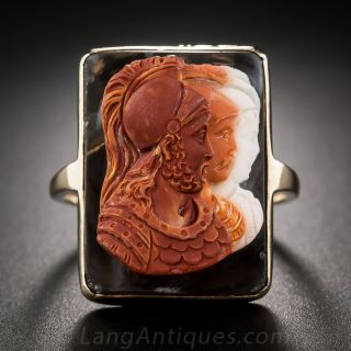 Four-Color Hardstone Cameo Gent's Ring
