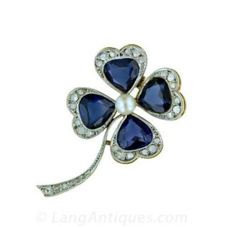 Four Leaf Clover Pin with Synthetic Sapphires and Diamonds Main View