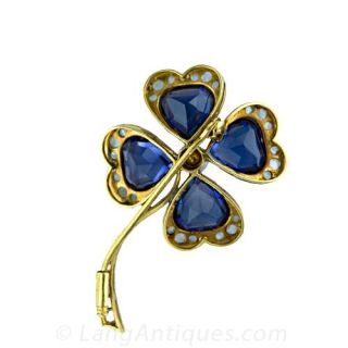 Four Leaf Clover Pin with Synthetic Sapphires and Diamonds