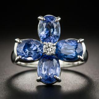 Four-Sapphire Platinum Diamond Ring - 2