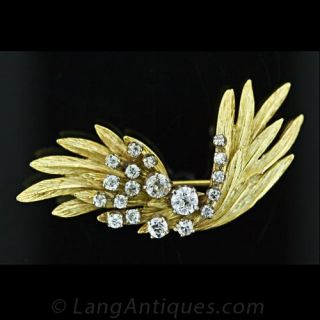 Free Form Diamond Feather Pin Main View