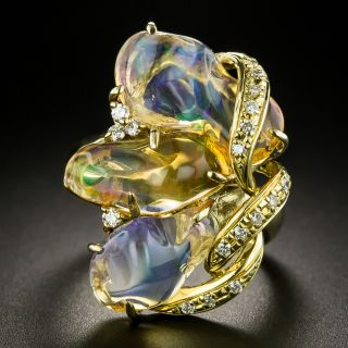 Free-Form Mexican Opal and Diamond Ring - 2
