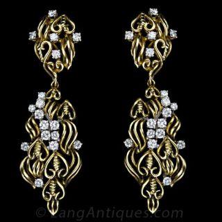 Freeform Diamond and Yellow Gold Earrings - 1