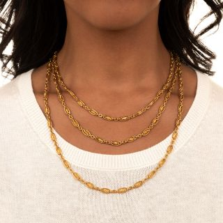 French 18K Gold 61-Inch Necklace
