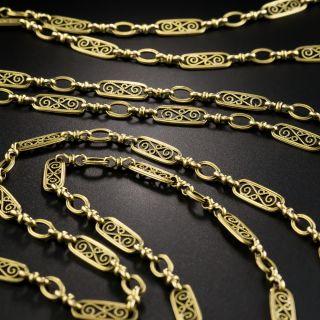 French 18K Long Fancy Link Chain - 1