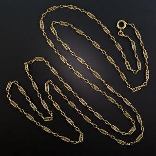 French 18K Long Fancy Link Chain