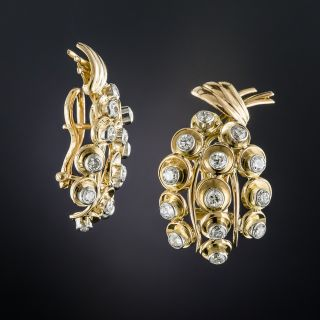French 18K Platinum Diamond Mid-Century Earrings