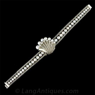 French 18K White Gold Cultured Pearl Watch