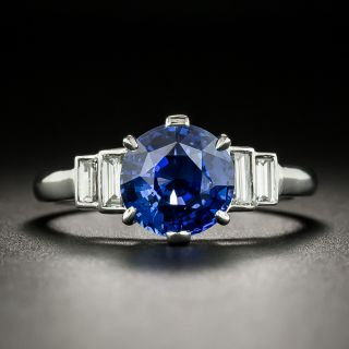French 2.62 Carat Sapphire and Baguette Diamond Ring - 1