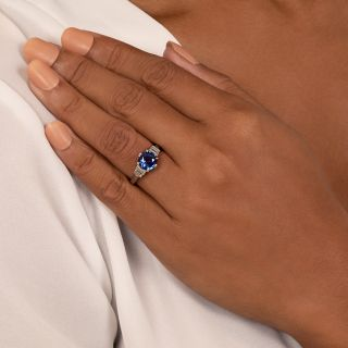 French 2.62 Carat Sapphire and Baguette Diamond Ring